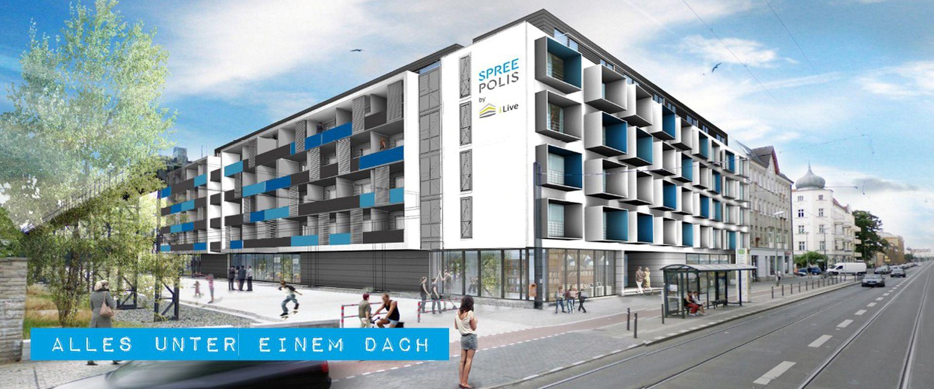 Außenansicht Apartmenthaus SPREEPOLIS in Oberschöneweide an der Spree
